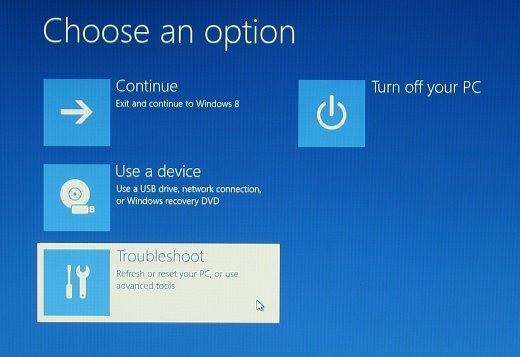 Windows8 Başlangıç seçenekleri